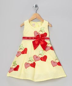 Love this Yellow & Red Gingham Cherry Hearts A-Line Dress - Toddler & Girls on #zulily! #zulilyfinds