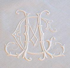 monogram tablecloths | ... Heart Antique Linens -Monogrammed Antique Linen Cluny Lace Tablecloth