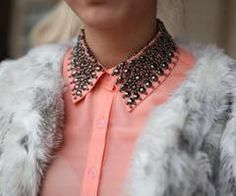 orange blouse with studded collar