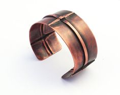 Fold Formed Copper Bracelet with Woven Design an Antique Patina and Brushed Finish by Erin Austin