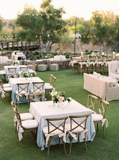 Blue Wedding Flowers Gorgeous outdoor reception set up with square tables - This Arizona wedding is full of outdoor charm and beautiful foliage. Take a closer look at the details of this floral paradise by Erich McVey Photography Outdoor Wedding Reception, Wedding Receptions, Reception Decorations, Reception Ideas, Wedding Backyard, Wedding Ceremony, Wedding Reception Layout, Cocktail Wedding Reception, Reception Party