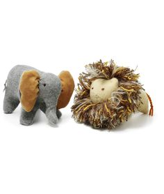 RECYCLED SWEATER STUFFED ANIMALS | Recycled Sweater Stuffed Animals - Soft, Lovable Lion and Elephant are Handmade from Old Knits | UncommonGoods