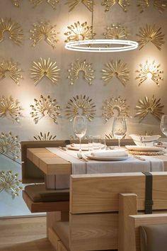 Gold silverware used as wall art * restaurantes La Bien Aparecida Madrid Restaurant Design, Restaurant Madrid, Architecture Restaurant, Modern Architecture, Café Design, Deco Design, Unique Wall Decor, Home Wall Decor, Industrial House