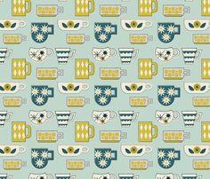 Retro Coffee Mugs fabric by mintgreensewingmachine on Spoonflower - custom fabric