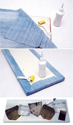 denim organization wall back pockets  http://www.diy-enthusiasts.com/diy-home/diy-ideas-recycling-denim-jeans/