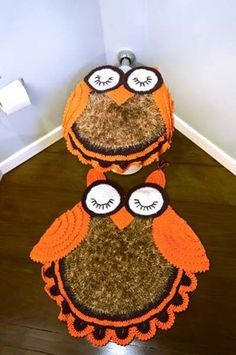 Crochet owl bathroom set ❤️LCB-MRS❤️ with diagram