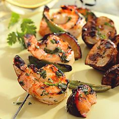 Recipe of the Day: Looking for something quick and easy to throw on the grill tonight? This unique recipe mixes fast-cooking shrimp with sliced sweet plums and hot jalapeño peppers for a meal with lots of kick that's ready in minutes. Plus, the cilantro-lime marinade is the perfect recipe to have on hand to add a zesty freshness to other dishes as well. #grill #summer #shrimp #lime #healthy #recipe #kebab #easymeal