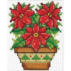 "Poinsettias Ornament Counted Cross Stitch Kit-2""X3"""