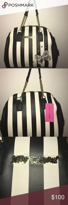 Betsey Johnson Tote This amazingly gorgeous tote is black and creamy white stripes with a butterfly design on it and gold hearts! It is very spacious and can fit a lot!! L 12 W 13. If you have any questions or want more pictures just let me know!! Reasonable offers are welcomed! This will go with so much in my closet!!! It's getting cold and Christmas is coming!! This is great to carry all those little extras!!! Get it before it's gone!! PRICE IS FIRM UNLESS BUNDLED Betsey Johnson Bags Totes