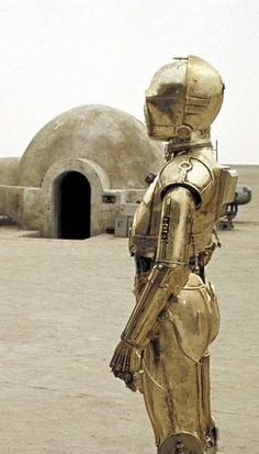 c3po on the set of Star Wars in 1977. So cool.. #starwars