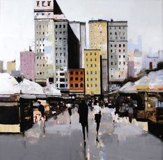 Geoffrey Johnson, City Portrait, 2014, Oil on panel, 36 x 36 inches