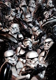 Instead of Aliens Vs. Predator we now have Star Wars Vs. Aliens thanks to a brilliant line of geek art mash up pieces. Geek Art, Nerd Geek, Stormtroopers, Art Alien, Guerra Total, Badass, Alien Vs Predator, Xenomorph, Marvel