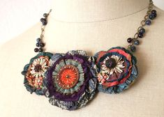 Colorful Fabric Flower Necklace Teal Blue Red by rosyposydesigns, $86.00