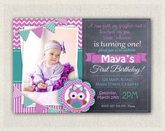 Girls 1st Birthday Invitation / Purple  by PixiePerfectParties