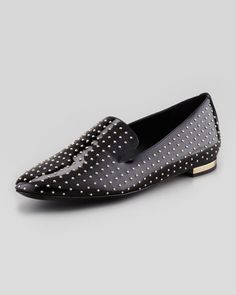 Patent Studded Smoking Slipper, Black by Burberry at Neiman Marcus.