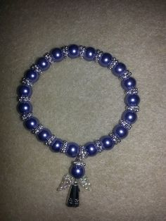 cornflower pearls ,snowflakes and angel bracelet