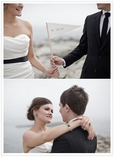 Cute little flag, looks like a golf flag stick! Black and white Rhode Island wedding