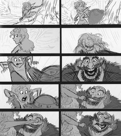 storyboard from Brave - Initial over the shoulder shot is usually used to reveal information. In this case it's used as a comical device because you assume that what is behind Merida is scary when actually it's her father. Who is represented as a large character because he inhabits the majority of the screen and doesn't exactly fit into it.