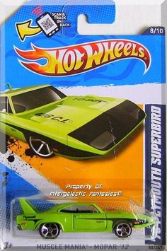 Lime Green, w/Black stripes & 'Plymouth' on sides, Black front, '428 C.I.' on hood, Chrome Malaysia Base, w/MC5's.  Only $4.99 with Free Shipping!