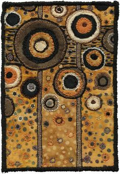 """Spots by Kirsten's Fabric Art"". This made me think of the many paintings by Gustav Klimt. Textile Fiber Art, Textile Artists, Art Du Fil, Circle Quilts, Fabric Postcards, Art Graphique, Wool Applique, Aboriginal Art, Fabric Art"