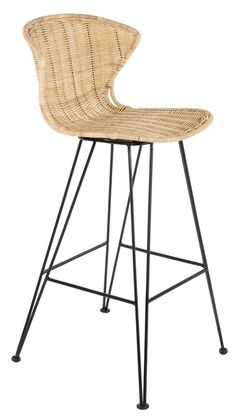 Kouboo 1110127 Jaro Rattan Metal Legs, Natural Color & Black Bar Stool, Brown and Black Rattan Counter Stools, Black Counter Stools, Rattan Stool, Rattan Furniture, Swivel Bar Stools, Bar Chairs, Desk Chairs, Swing Chairs, Rocking Chairs