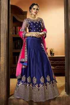 Blue Satin and silk Lehenga with Raw silk Choli - DMV12503