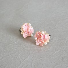 vintage earrings / floral 50s earrings / Pink Petals by DearGolden, $14.00