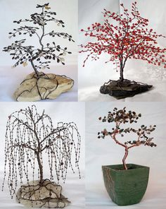 Weeping Willow Beaded Bonsai Wire Tree Sculpture  by CassandraZ, $90.00