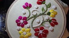 Hand Embroidery Designs | Puff bullion knot stitch | Stitch and Flower-110 - YouTube