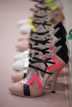 Shoes backstage at Miu Miu