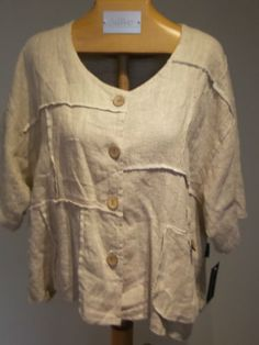 Gorgeous Linen Lagenlook Jacket by Sarah Santos Must See One Size | eBay
