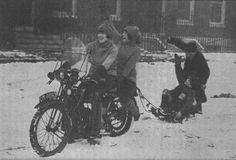 """Another fun photo of the Debenham sisters in the late 1920s, from their classic book """"Motor-Cycling for Women."""" Winter does not deter these adventurous ladies."""
