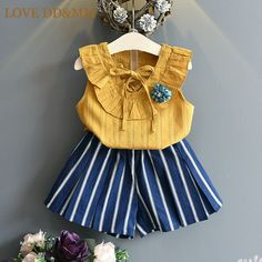 Cheap children set, Buy Quality girls clothing sets directly from China clothing sets Suppliers: Belbello Girls Clothing Sets Summer Sleeveless Shirt Kid Short Pants Girl Clothes Bowtie Flower Fashion Casual Children Sets Girls Formal Dresses, Kids Outfits Girls, Little Girl Dresses, Toddler Outfits, Girl Outfits, Little Girl Fashion, Kids Fashion, Korean Fashion, Short Pants Girl