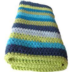 Hæklet babytæppe blå og grønne nuancer - Håndlavet babytæppe 65 x 60 cm
