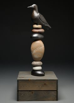 The Crow Knows garden totem 2014 http://www.laurielandrypottery.com