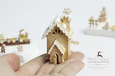 White Christmas Gingerbread House 1/12 Dollhouse by PetitDlicious
