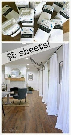 Cheap White Curtains – Quick, Cheap, & Super Easy – Sawdust 2 Stiches - home decor diY Home Renovation, Home Remodeling, Bathroom Remodeling, Bathroom Updates, Cheap Home Decor, Diy Home Decor, Farmhouse Side Table, Cute Dorm Rooms, White Curtains