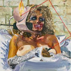 Dawn Mellor, Glenn Close, 2010, Oil, marker pen and oil pastel on canvas, 121.92 x 121.92 cm ©