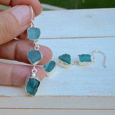 Rough fluorite gemstone sterling silver earrings by pebblesandchance on Etsy