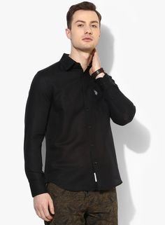 U.S. Polo Assn. Black Solid Slim Fit Casual Shirt Rs.2499 Buy Now:-http://www.jabong.com/Us_Polo_Assn-Black-Solid-Slim-Fit-Casual-Shirt-300014993.html?pos=2