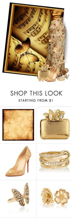 """""""GOLD Butterflies"""" by sarahguo ❤ liked on Polyvore featuring Nancy Gonzalez, Christian Louboutin, SPINELLI KILCOLLIN, Accessorize and Bling Jewelry"""