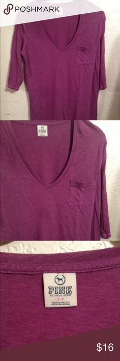 VS Pink 3/4 v neck tee Brand new without tags. Price reflects that! No visible flaws to my knowledge. Great to have for the upcoming fall season! PINK Tops