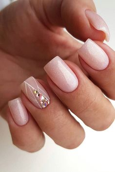 wedding nails trends pink designs with geometry rhinestones and gentle gloss sveta_liber_nail