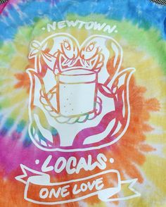 This is the limited edition #tiedye version of the @gingertaylorsignwriting #artwork which won this years @newtownlocals #tshirt design competition you can buy one at today's #newtownfestival - all proceeds go towards the @newtowncentre - #aisle6ix #newtown #alwayshandprint #onelove