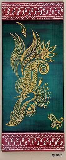 Henna style painting.  © 2011 Bala Thiagarajan Acrylic on wood. 6x15""