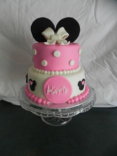 MMF covered cake with gumpaste ears and bow.  Happy first Birthday Katie!