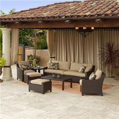 The Garden Gates | Patio and Outdoor Living | Outdoor Furniture | Delano™ 7 Piece Sofa and Club Chair Set >> Love this style.