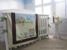 Owl Themed Crib Bedding Set - Green - Yellow - Brown - Baby Blue - Baby Boy - Neutral Gender - READY TO SHIP. $325.00, via Etsy.