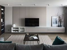 Clean Lines on Behance Apartment Interior, Living Room Interior, Home Living Room, Living Room Decor, Living Room Wall Units, Living Room Tv Unit Designs, Classy Living Room, Home Room Design, House Rooms