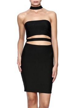 Black bodycondress with midriffslits, choker neckline and a back zipper closure.   Choker Dress by TIC:TOC. Clothing - Dresses - LBD New York City
